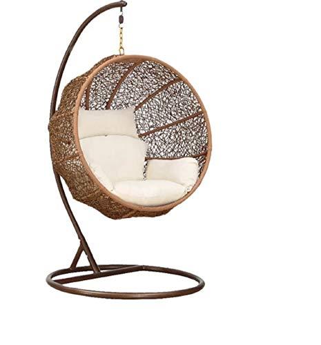 Carry Bird Big Boss Wicker Rattan Hanging Egg Chair Swing for Indoor Outdoor Patio Backyard, Stylish Comfortable Relaxing Swing (Standard Honey Swing, White)