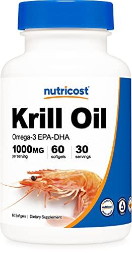 Nutricost オキアミ油 (1000mg)、 60ソフトカプセル、オメガ3脂肪酸 (エイコサペンタエン酸 - EPA+ドコサヘキサエン酸 - DHA)