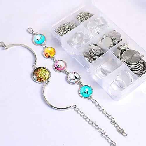 DAHI Anhänger Tablett Lünette mit Glas Cabochon Retro Glaskuppel Bastelset für DIY Armband Halskette Geschenk Schmuckherstellung (Armband)