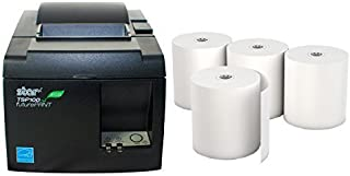 Star Micronics TSP 143IIU Receipt Printer Productivity Bundle – Easy to Use – USB Printer – Dark Gray – Compatible with Square Stand – Includes Four (4) Rolls of Receipt Paper