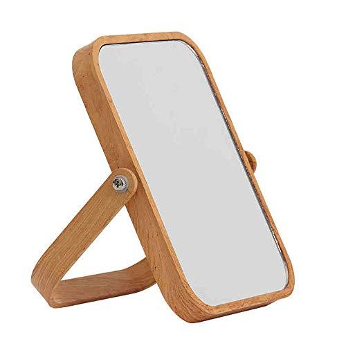 JXQ Couleur de bois miroir de table double face miroir de salle de bains miroir grossissant