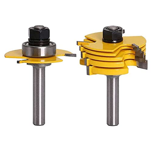 Gmasuber Milling Tool Woodworking Groove Router Bit T Shape Yellow 1/4 Shank Molding Adjustable Christmas for Home Wood DIY 2PCS