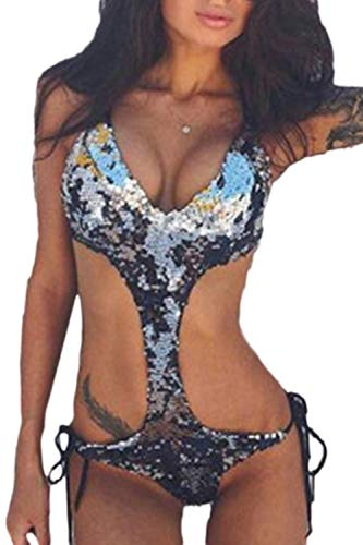 BOLAWOO-77 Frauen Pailletten Einen Bikini Aus Hohl Microkini Monokini Trikini Frauen Badeanzug Mode Strand Swimsuit (Color : Sliver, Size : L)