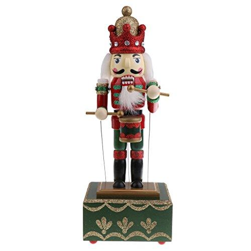 SM SunniMix Boîte à Musique Forme Casse-Noisette en Bois Figurine Soldats/Batteur Fait à La Main Objets de Décor Maison Cadeaux pour Enfant - Batteur