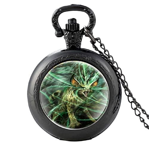 2020 nueva llegada servalis criatura mágica gato diseño plata cuarzo reloj colgante reloj hombres mujeres collar regalos