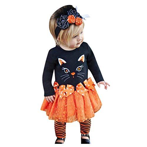 Riou Baby Kostüm Halloween Kostüm Kleinkind Kinder Baby Mädchen Karneval Fasching Paty Cospaly Costume Langarm Katzendruck Shirt Tops + Bow Tutu Rock 3PCS (110, Schwarz)