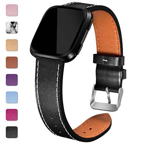 Maledan Replacement Bands Compatible for Fitbit Versa, Genuine Leather Band Replacement Accessories Strap for Fitbit Versa Smart Watch, Women Men