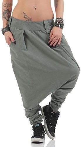 Malito di Base Pantaloni Harem Pantaloni Aladin Baggy 91086 Donna Taglia Unica (Oliva)