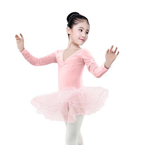 Xmiral Kleinkind Mädchen Gaze Trikot Bodysuit Dancewear Kleider Outfits Perfektes Kostüm für Rollenspiel Maskerade(L,Rosa)