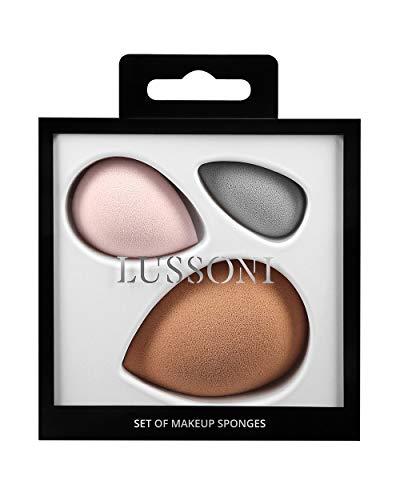 T4B LUSSONI Eponge A Maquillage Set De 3 Couleurs Nude Rose Et Gris Haute Qualité