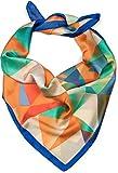 styleBREAKER pañuelo de mujer cuadrado con estampado geométrico de ciervo, pañuelo multifuncional, pañuelo para el cuello, pañuelo para la cabeza, bandana 01016192, color:Azul-Naranja-Verde