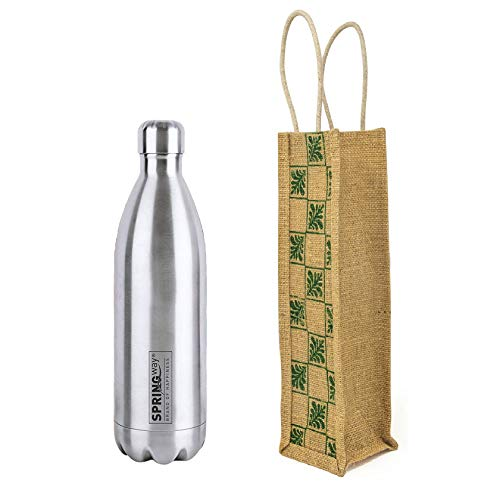 SPRINGWAY - Brand of Happiness | Stainless Steel Thermosteel Rio DLX Hot & Cold Steel Flask 1000 ML with Jute Bag