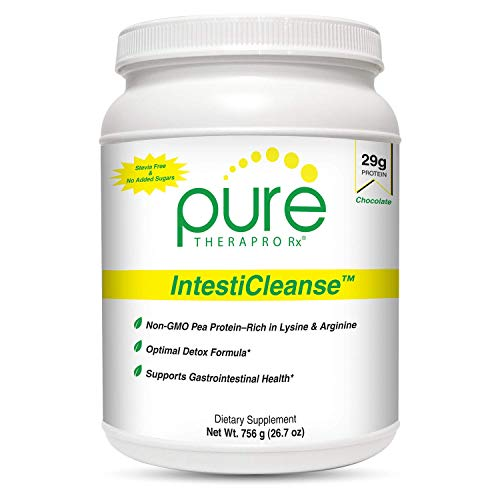 IntestiCleanse Chocolate - 29g of Pure Vegan Protein, a Non-GMO Pea Protein Blend Sweetened with Monk Fruit | Features Aminogen & Quatrefolic | Gastrointestinal, Liver and Digestive Support