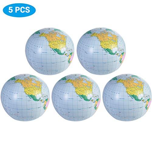 Macabolo 5 Pack 30CM aufblasbare Globus Welt Erde Ozean Karte Ball Geographie Lernen pädagogische Strand Ball Kinder Geographie pädagogische Versorgung