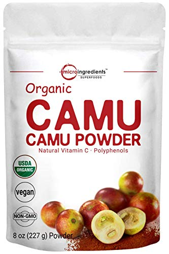 Peruvian Camu Camu Powder Organic, (Natural Vitamin C Powder), 8 Ounce, Strongly Supports Energy and Immune System, No GMOs and Vegan Friendly