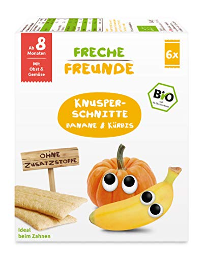 FRECHE FREUNDE Bio Knusper-Schnitte Banane & Kürbis für Babys ab dem 8. Monat , 84 g