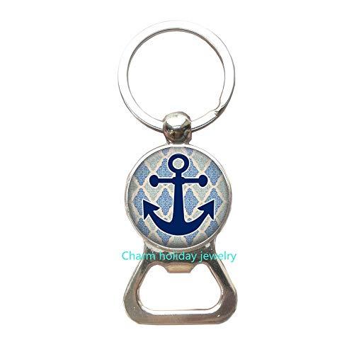 Anchor Bottle Opener Keychain Anchor Jewelry Bottle Opener Keychain Wearable Art Key Ring Charm Nautical Key Ring Charm-#97