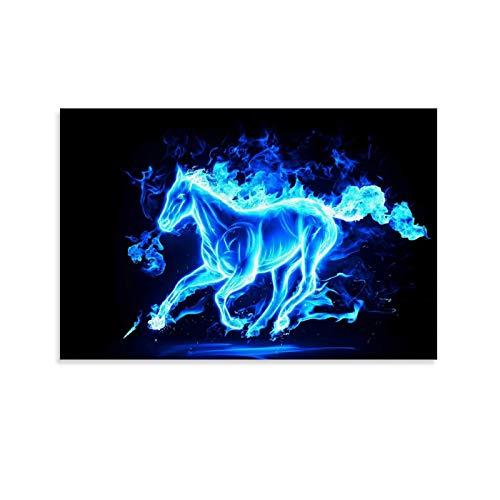 NVHAI Póster de lona con diseño de caballo de llama azul soñando y arte de pared, impresión moderna para dormitorio familiar, 60 x 90 cm