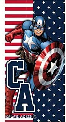 Various Toalla de Playa Infantil con Licencia Oficial Disney (Avengers Captain America)