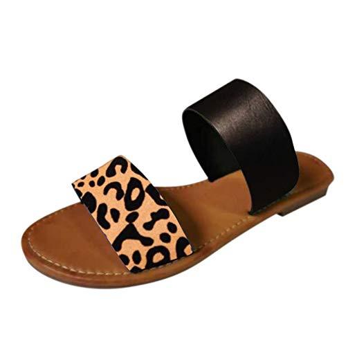 Sandalen Damen Lässige Leopard Slippers Sommer Stilvoller Elegante Hausschuhe Neue All-Match Flache Strandschuhe Faux Leder Peep Toe Weicher Boden Schlappen Bequeme Einfach Pantoffel
