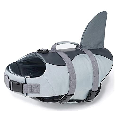 Dog Life Jacket Ripstop Dog Lifesaver Shark Vests with Rescue Handle Pet Dog Safety Swimsuit for Swimming Pool Beach Boating, Dog Lifesaver Preserver Swimsuit for Water Safety