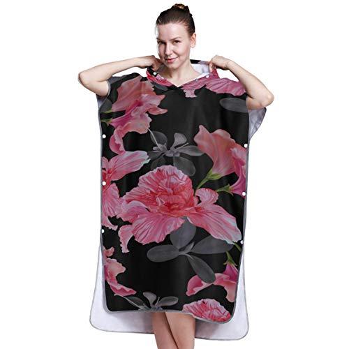 YXUAOQ Rhododendron Bunte Blume Strand Poncho Handtuch Jungen Poncho Strandtuch Erwachsenen Poncho Handtuch für das Surfen Schwimmen Baden One Size Fit All