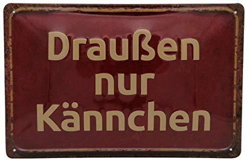 Draußen nur Kännchen rot - hochwertig geprägtes Blechschild, 30 x 20 cm Tür- und Wanddekoration