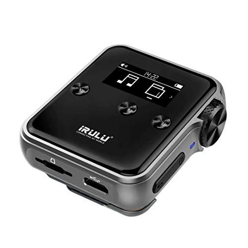 iRULU H10 HiFi MP3 Player mit Bluetooth: 16GB DSD HiFi Verlustfreier Audio Player mit Mini Clip für Musik Liebhaber und Sportler, unterstützt bis zu 256GB SD Speicher (Grayish Black)