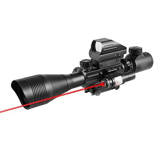 4-12x50 EG fucile di caccia telemetro Ottica Combo con tattico olografico vista riflessa e Red Dot mirino laser per 22 millimetri Weaver-guida di Picatinny del supporto di portata - regolabili reticol