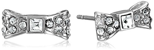 kate spade new york 'Ready Set Bow' Silver-Tone Pave Stud Earrings