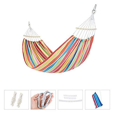 ZLZNX Hangmat, outdoor, robuust katoen, canvas, camping, hangmat, schommel met draagtas, voor binnen en buiten, tuin, strand, reizen