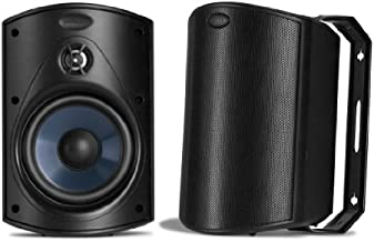 Polk Audio Atrium 4 Outdoor Speakers with Powerful Bass  (Black) | All-Weather Durability | Broad Sound Coverage | Speed-Lock Mounting System (Single Pair)