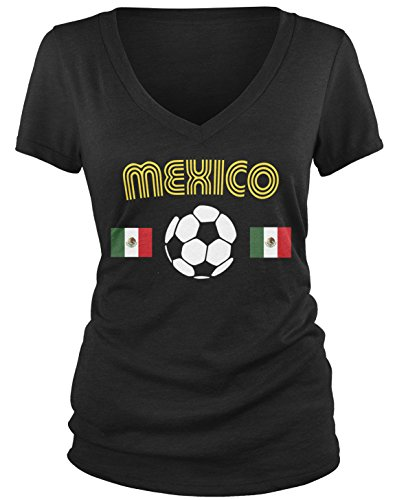 Amdesco Junior's Mexico Soccer, Love Mexican Futbol Football V-Neck T-Shirt, Black Large
