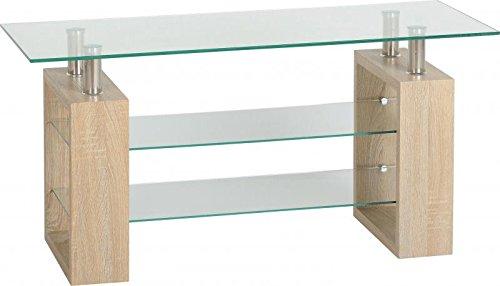 Seconique Milan TV Unit, Sonoma Oak Effect Veneer/Clear/Silver, 99.5 x 40 x 50 cm