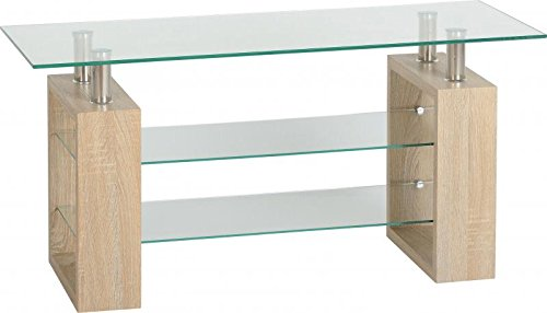 Seconique Milan TV Unit, Sonoma Oak Effect Veneer/Clear/Silver, 99.5 x 40 x 50 cm