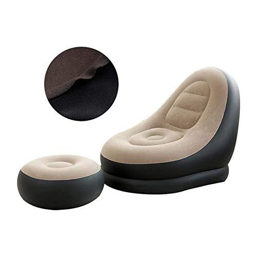 PBTRM Deluxe Aufblasbarer Stuhl Und Fußschemel Einfach Zusammenklappbarer Lounge Chair Tragbare Weiche Matratze Für Camping Balkon Garten Home Outdoor