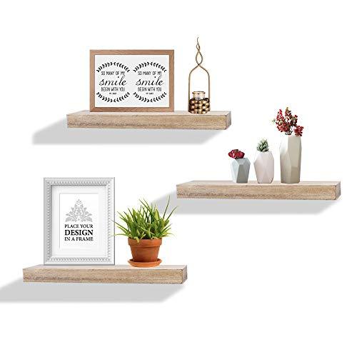 AHDECOR Wandregal Wandboards 3er Set Schwimmende Regal Holz für Wohnzimmer Schlafzimmer Büro oder Küche, Grau