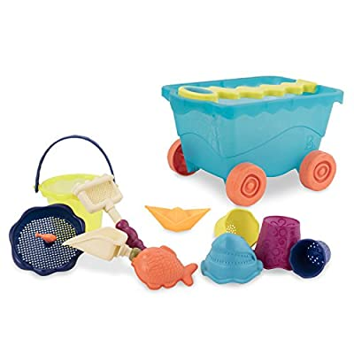 B. toys – Wavy-Wagon – Travel Beach Buggy (Sea Blue) with 11 Funky Sand Toys – Phthalates and BPA Free – 18 m+