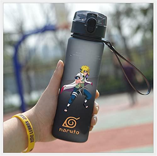 CHBT Anime Naruto - Botella de agua de plástico anticaída, para regalo de estudiantes al aire libre (gris-F)