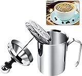 Espumador de leche manual, espumador de leche y jarra, espuma de doble malla, espumador de leche de acero inoxidable para café con leche y capuchino (500 ml)