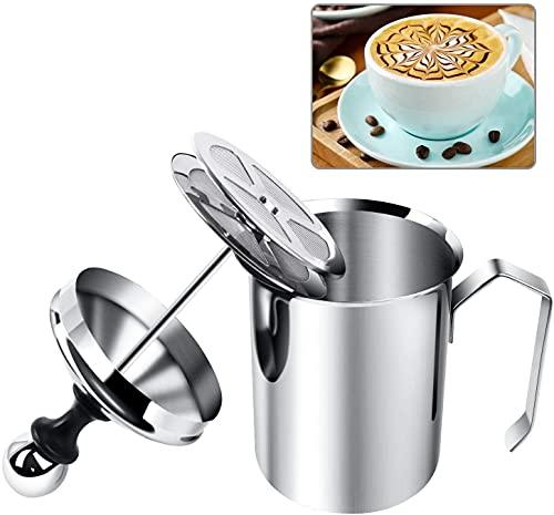 Espumador de leche manual, espumador de leche y jarra, espuma de doble malla, espumador de leche de acero inoxidable para...