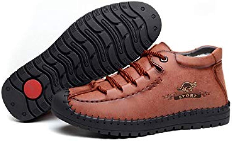 FHCGMX Genuine Leather Men Boots Warm Winter shoes Men Winter Boots Men