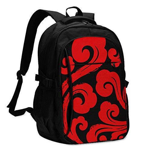 XCNGG Mochila para Ordenador portátil de Viaje Rojo con patrón de Nube clásica Japonesa, Mochila Escolar, Mochila Informal con Puerto de Carga USB