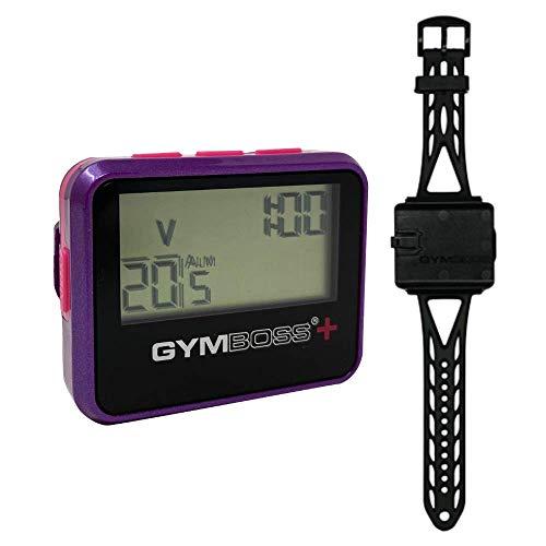 Gymboss Plus Interval Timer y cronómetro y correa de reloj Gymboss – paquete (violeta / rosa)