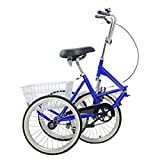 Areyourshop 20' Adult Trike, Three Wheel Cruiser Bike Blue Mantis Tri-Rad Adult Folding Tricycle Bicycle Portable Tricycle