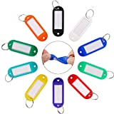 InterUS 50 Pack Key Tags, Plastic ID Labels Tags with Split Ring Label Window, Assorted Co...