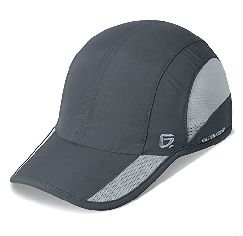 GADIEMKENSD Quick Dry Sports Hat Lightweight Breathable Soft Outdoor Run cap (Improved, Deep Gray)