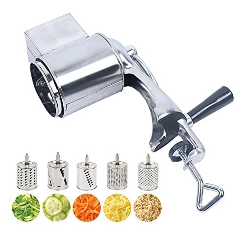 Futchoy Rallador giratorio de acero inoxidable, rallador de verduras, rallador manual de verduras, rallador de patatas con 5 tambores