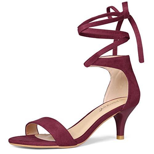Allegra K Women's Kitten Heel Lace up Sandals Burgundy 7 UK/Label Size 9 US