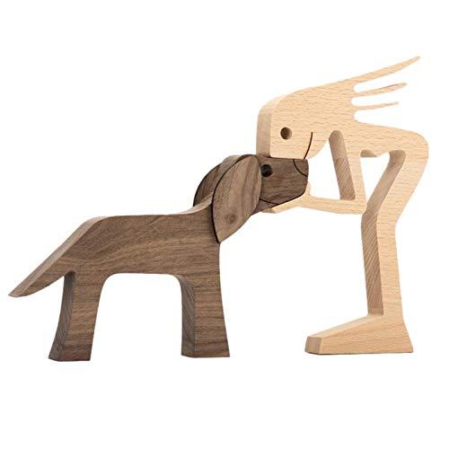 Familienwelpe Holzschnitzerei Ornamente , Handwerk Home Office Desktop Männer Fra-uen Jungen Und Mädchen Alte Menschen Kreative Geschenke